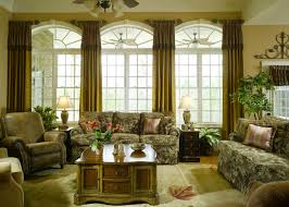 Living Room Window Curtains Living Room Window Decor With Beige Polyester Curtains And