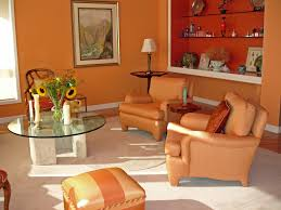 Orange Chairs Living Room Living Room Orange Paint Wall Wooden Floating Shelves Corner Of