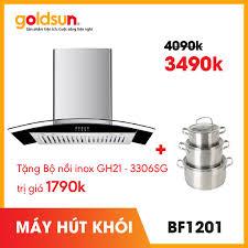 Máy Hút Mùi Hút Khói Khử Mùi Kính Cong Goldsun BF1201 Tặng Kèm 3 Nồi Inox  Goldsun GH21-3306SG