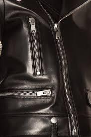 image 7 of saint lau embellished embroidered leather motorcycle jacket in black multi
