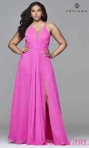 ball gown for plus size faviana long v neck plus size prom dress promgirl