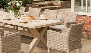 detail of the cora armchair dining set from kettler s elegance range in a garden