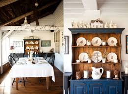 rustic dining room hutch. Blue Chic Hutch Fabulous Farmhouse Dining Room Wooden Table Decorative Plates Black Chair Medium Wood Flooring White Rustic Pendant Lights