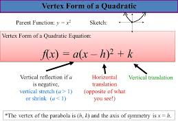 5 3 transformations of parabolas goal write a quadratic in 25 write the equation in standard form of parabola whose vertex