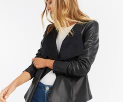 oasis faux leather waterfall jacket black 4