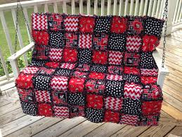 ON SALE Sports Team Rag Quilt Large Throw Size by funkybugboutique ... & Modern Rag Quilt Georgia Bulldog Inspired by funkybugboutique Adamdwight.com