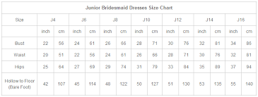 Bridesmaid Dress Size Chart Size Chart Dylanqueen