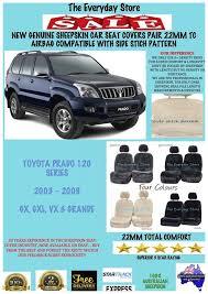 genuine sheepskin car seat covers for toyota prado 120 03 09 pr 22mm airbagsafe