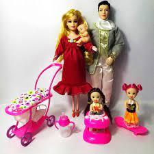 Đồ Chơi Trẻ Em 5 Người Búp Bê Phù Hợp Với 1 Mẹ/1 Bố/2 Nhỏ Kelly/1 Con  Trai/1 Xe Đẩy Cho Bé Thật Mang Thai Búp Bê Cho Bé Gái Barbie Quà