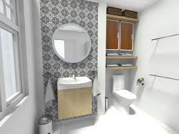 bathroom with storage cabinets open shelving on walls