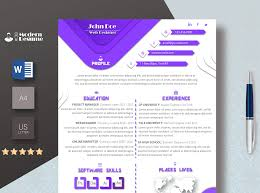One Page Resume Template Cover Letter For Microsoft Word Clean Resume Professional Cv Instant Download 100 Customizable