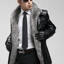high quality great fox fur collar men winter leather coat sheepskin men s long business genuine leather jacket man fur coat malaysia