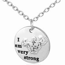crossfit message pendant necklace workout gym i am very strong charm necklace women inspirational e jewelry