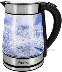 Zeppoli <b>Electric Kettle</b> - Glass Tea Kettle (1.7 L) <b>Fast Boiling</b>