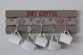 Pallet Coffee Mug Holder with Spoon Hooks