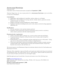 Journeyman Electrician Sample Resume Free Resumes Tips