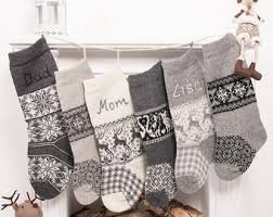 gray christmas stockings. Simple Stockings Personalized Christmas Stockings Family Grey Knitted Scandinavian Nordic  Stocking Handmade Embroidery Rustic Home Decor Nikolausstiefel To Gray Stockings T