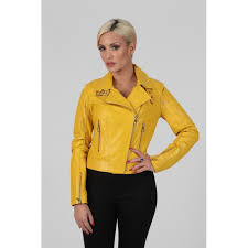 women s yellow moto real leather jacket