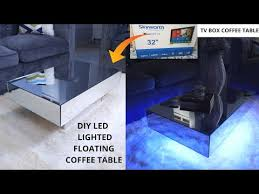 diy led lighted mirrored coffee table