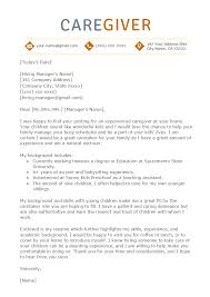 Example Of Simple Cover Letters Caregiver Cover Letter Sample Resume Genius