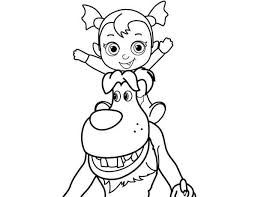 Easy Vampirina Coloring Pages For Wolfie And Baby Nosy From Disney