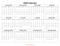 Calendar Yearly 2020 Yearly Calendar 2020 Free Download And Print