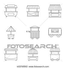 truck drawing outline. Modren Outline Drawing  Street Food Truck Icon Set Outline Style Fotosearch Search  Clipart For Truck Outline