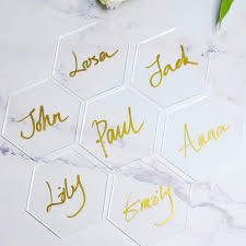 Atomzing 20pcs Hexagon Clear Acrylic Place Cards For Weddings Clear Place Cards For Party Wedding Name Place Cards Wedding Seating Chart Placecards