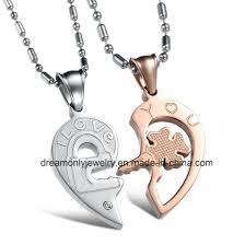 romantic half love heart puzzle pendant necklace 316l stainless steel couple necklaces chain necklace
