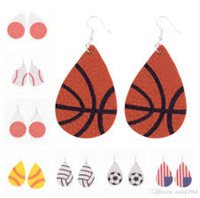 2019 baseball basketball leather earrings for women sports rugby softball teardrop earrings girl unique fashion jewelry from zcqiqi1984 1 11 dhgate com
