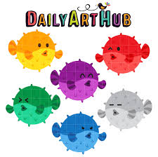color pufferfish clip art set daily