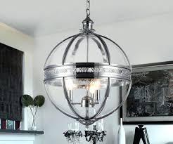 exotic foucault orb chandelier 3 light clear glass inch round chrome finish chandelier foucault iron orb