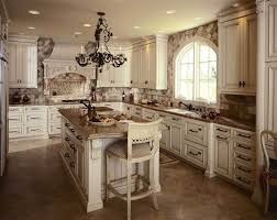 brown marble tile flooring for french country style kitchen design with black chandelier above island and using white cabinet