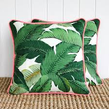 Neon Green Palm Banana leaf Outdoor Cushion or Pillow Cover with piping |  45cm sq |