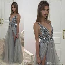 Sexy High Side Split Evening Dresses 2017 New Deep V Neck Sequins