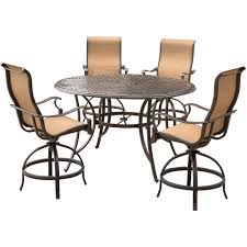 round outdoor dining sets. Brilliant Dining Hanover Manor 5Piece Aluminum Round Outdoor High Dining Set With Swivels  And Cast Throughout Sets