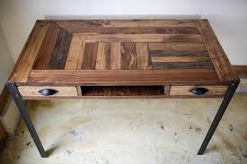 pallet furniture desk. reclaimed pallet desk with metal legs furniture
