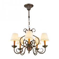 savannah collection 5 light antique bronze finish with natural shades linen chandelier 24