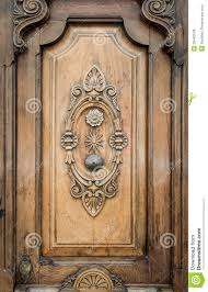 Old Door Decorating Old Door Of Wood With Patterns Carved On It Royalty Free Stock