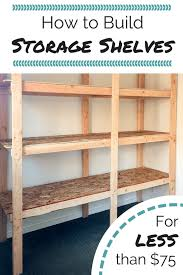 shed shelving built from 2x4s and osb boards with text overlay reading how to build