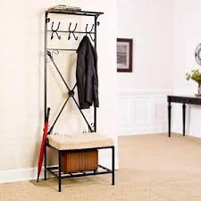 Hat And Coat Rack Stand Hall Tree with Bench Seat Black Entryway Hall Hanger HatCoat Rack 39