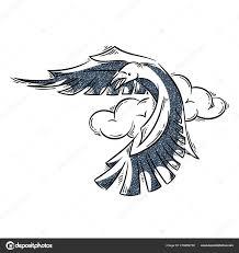 ворон в стиле абстрактного тату векторное изображение Drekhann