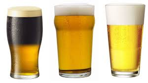 three types of beer glass the tulip the nonic and the tumbler