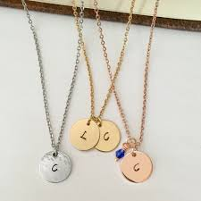 details about initial disc pendant necklace adjustable any length birthstone silver rose gold