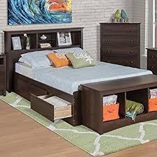 Prepac Manhattan Bookcase Platform Storage Bed in Espresso Finish - Queen