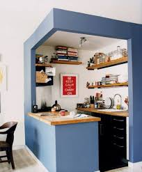 For A Small Kitchen Space Minimalist Kitchen Space With Wooden Countertop And Blue Edge Wall