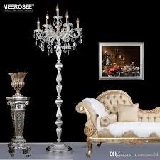 modern crystal floor lamp res floor stand light fixture cristal silver candelabra standing lamp high quality lighting globe chandelier chandelier for
