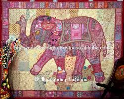 extravagant elephant tapestry wall hanging patchwork dorm handmade rich dazzling pink color vintage decor wallpaper