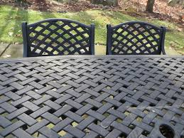 woven metal furniture. Item # 8 -- Patio Furniture Incl Black Cast Aluminum Rectangular Basketweave Table With Ornate Woven Base And 5 Chairs, One Chair Has Matching Seat Metal