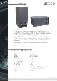 TECHNICAL SPECIFICATIONS PASSIVE SUBWOOFER